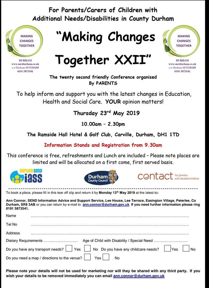 MCT Durhams 22nd Parent carer conference.